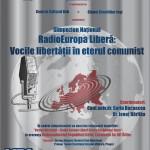 Afișul Simpozionului Național Radio Europa Liberă: Vocile libertății în eterul comunist