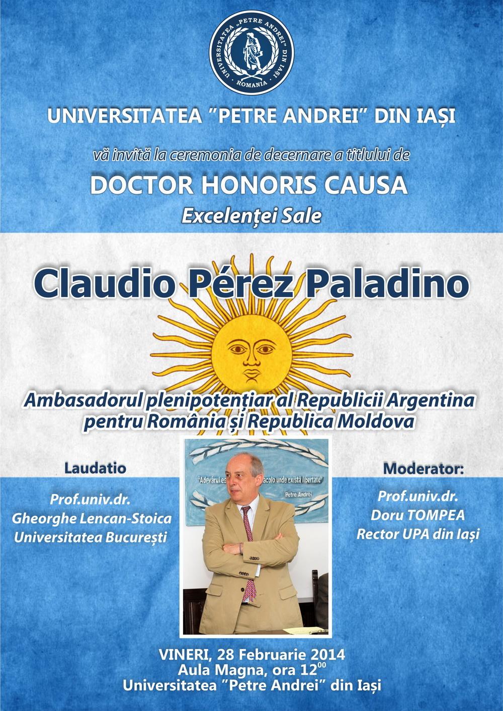 Afișul Ceremoniei de decernare a tilului de DHC Excelenței Sale Claudio Perez Paladino