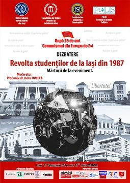 Afișul Dezbaterii Revolta studenților de la Iași din 1987