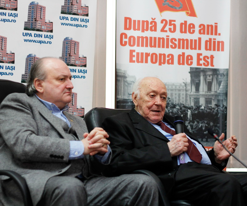 Prof.univ.dr. Doru Tompea, Rectorul UPA din Iași, Ing. Leonard Constantin, fost prim-secretar al județului Iași